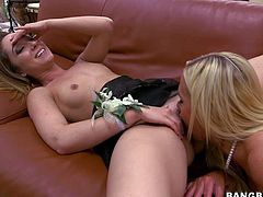 Milf blonde Nikki Benz bares her perfect huge boobs before her sweet flat chested daughter Remy Lacroix spreads her long slim legs. Young chick gets her snatch tongue fucked by her lesbian step-mom!