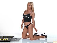 Nikki Benz, Phoenix Marie, Rachel RoXXX and other busty girls show their nice bodies in this terrific compilation clip. A gorgeous brunette gets double-teamed by two black studs. A must-see!