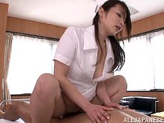 Check out this hot scene where the slutty Asian nurse Hana Nonoka sucks on this patient's hard cock before being fucked silly by him.