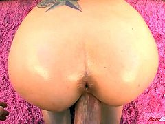 Press play to watch this blonde babe, with a nice butt wearing a thong, while she serves a tasty blowjob and goes hardcore with an aroused man.