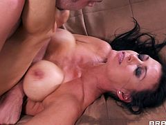 Get a load of this amazing hardcore scene where he busty brunette Vanilla Deville is fucked until her face's completely covered by warm semen.