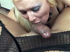 Filthy blonde slut wearing fishnet stockings is sucking hard dick of kinky shemale slut. She also drills her tight asshole with monster dildo.