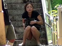 These horny asian chicks want to relieve themselves and look for a place when they can release some fresh pee. Watch as these hotties spread legs to do it.