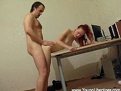 A sexy, young, redhead Russian girl with petite tits enjoys getting her shaved pussy fucked by her boyfriend. See them cum now!