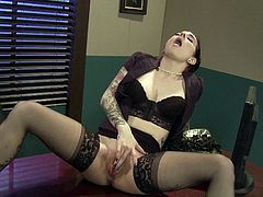 Slamming a big yoy up her shaved twat makes horny Joanna Angel to have an amazing time at the office