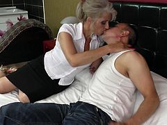 The next door neighbor is a hunk and this mature slut has had her eyes on him for quite a while. She invites him into her house when she see him working in the yard. When they are in the bedroom she climbs up on top of him and kisses him passionately. Watch and see how far they go.