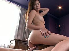 Lustful brunette girl sucks cock like real pro. She gets her wet pussy licked at a time. After having sensual foreplay she rides dick on top.