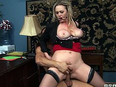 Get a load of this hardcore scene where the busty Abbey Brooks is fucked silly by a guy as you hear her moan while wearing stockings.