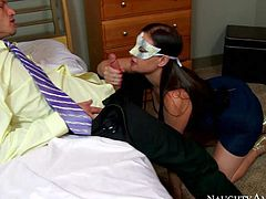 Masked Brunette Sovereign Syre is one on one with a handsome guy after party She strokes and sucks his dick with passion and then removes her black dress and bends over to let him lick her asshole.