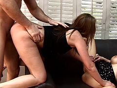 Never did this horny hunk has such amazing pleasures with two adorable hotties stroking his dick in wild trio