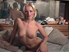 Lusty blonde kitty with natural tits agrees to fuck fat guy for money. Leggy beauty gives some head and after nice mish fuck rides her fat mate on top.