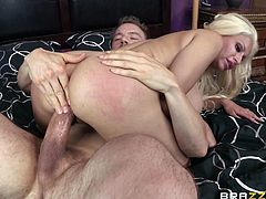 Get a hard dick by watching this blonde lady, with a great ass wearing nylon stockings, while she gets badly screwed in different positions.