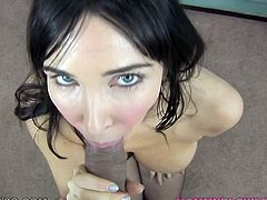 Blue eyed brunette Diana Prince gives her lover a nice blowjob