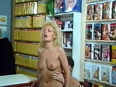 One of the sluts gets her ass poked with a carrot. Then, two kinky mom perform dirty double blowjob. Later on, blonde MILF rides big dick on top.