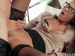 Stunning porn actress Alexis Brill is having steamy sex in the office. She gets her pussy licked from behind. Then she is hammered deep in her snatch in a missionary position.