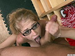 Lovely blonde Allie James, wearing glasses, shows her pussy to James Deen and lets him eat it. After that they bang in the missionary position.