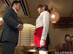 Check this Japanese doll, with small tits wearing a miniskirt, while she gets drilled hard in different positions and moans like a dirty Asian chick.