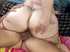 Fat Bunny massages her gigantic boobs and gives a hot blowjob. Then this BBW gets fucked in her shaved pussy. The guy also cums on Bu