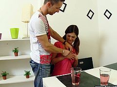 Sexy Irena talks to David drinking some juice. After some time the girl takes off her clothes and gives a blowjob. She lies down on a table and gets fucked in her teen pussy.