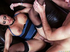 Claudia Valentine gets her fudge packed by Keiran Lee in anal sex action before cock sucking