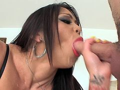This hot Asian slut pulls down her bra to shove off her nice melons. She opens her mouth really wide, which entice her man to put his cock inside. she sucks on him really hard and fast. Where will she let him shoot his cum?