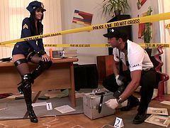 Amazingly sexy police officer with the hottest ass gets her mouth and pussy fucked hard on the crime scene by the forensic investigator.