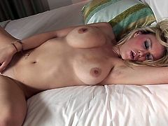 Make sure you take a look at Brook Little's perfect natural breasts and her pink shaved pussy in this solo scene where this sexy blonde masturbates.