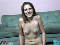 Skinny whore Claire Heart rides sybian machine passionately