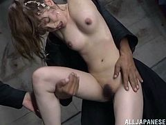 Press play to watch this Japanese doll, with natural boobs and a hairy pussy, while she gets mistreated and touched at the same time.