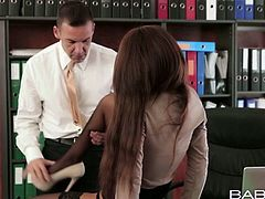Damn hot and sexy secretary girl is seduced by her boss. He bends her over the table. Thirsty dude sticks his tongue to her sleek pussy. He eats her out.