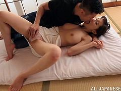 A curvy Japanese girl in a sexy lingerie gets her boobs and shaved pussy licked. Then this Asian hottie gets fucked hard in a Japanese style room.