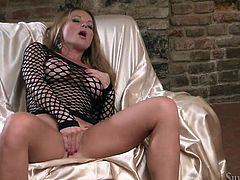Torrid light haired porn babe Silvia Saint spends her free time by rubbing her delicious shaved pussy with her tender hands. Jerk off on Silvia's long smooth legs.