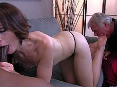 Sarah Shevon is sex hungry cuz her disabled older husband cant give her sexual satisfaction. She gets her toes sucked by her hubby and sucks big black dick at the same time in interracial cuckold action with foot fetish.