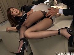 Prepare your cock for this Asian brunette, with a nice ass wearing nylon pantyhose, while she gets fucked and moans like a horny teacher.