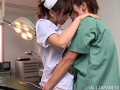Make sure you see this! An asian brunette, with natural breasts wearing her nurse uniform, gets drilled hard and moans like a wild creature.