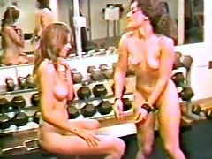 This workout goes to a whole new level as these two horny lesbians break out the strapon and fuck right in the middle of the gym.