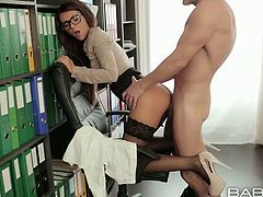 Beautiful brunette girl gives awesome blowjob. Handsome dude enters her pussy from behind pounding intensively. He fucks his secretary doggy style. Awesome sex video that is worth watching.