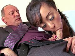 Ebony's black fanny is being well stimulated by her horny step dad in need to hear her scream of high pleasure