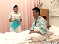 A sexy, young Asian nurse with a great body enjoys playing with her patients' big cock. Hear him moan with pleasure now!