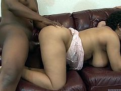 Full bodied mommy with huge boobs is bouncing her booty in cowgirl position. She then takes hard dick from behind. Skinny dude fucks her intensively.
