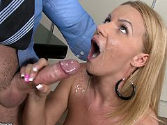 Her name is Christine Love and she knows how to make a career. Babe gets down on that huge cock and starts sucking it! Oh, she is so hot!
