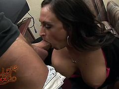 This charming office assistant loves nothing more than a good hard cock. She is interested in her boss not because he's married but because he has such a nice dick. She sucks his cock greedily to get it hard and ready. Then he fucks her tight snatch from behind.