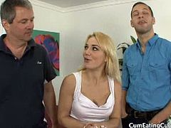 Cum Eating Cuckolds brings you a hell of a free porn video where you can see how this nasty blonde slut cuckolds her husband with a real stud while assuming sexy poses.