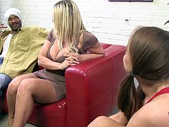 Sexy bitches Devon Lee and Pressley Carter are trying hard to please a black stud. They give him a blowjob and a handjob and enjoy ardent doggy style banging.