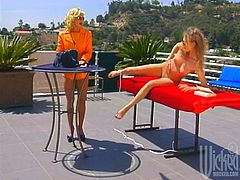 Have fun with this hot scene where these horny ladies make you pop a boner as they have a lesbian clip outdoors.