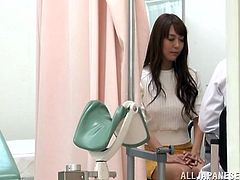 Long-haired Japanese chick comes to a doctor to get her pussy examined. The man stuffs the hottie's snatch with a vibrator and then fucks it in the missionary position.