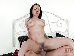 Brunette Katie St Ives and horny dude have a lot of fun in this blowjob action