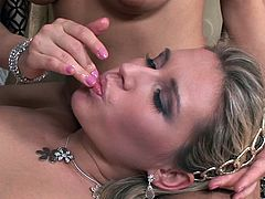 Sexy slim girls Eufrat and Cherry Jul, wearing lingerie, pet each other and get horny. Then they give a blowjob to a guy and let him fuck their pussies and bumholes.