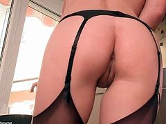 Red lipstick looks sexy on ass fingering girl