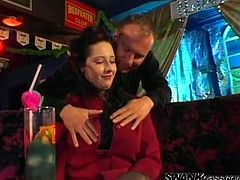 Big breasted MILFs get fucked rough tight in a bar